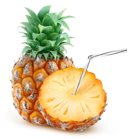 fruits juice: Isolated pineapple juice. One and a half fruit with straw in it isolated on white background with clipping path, natural fresh juice concept
