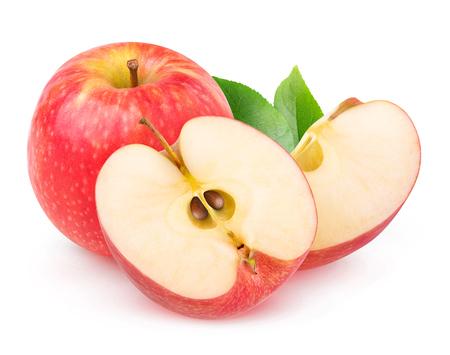 격리 된 사과입니다. 흰 배경에 고립 된 전체 및 컷된 신선한 사과 과일