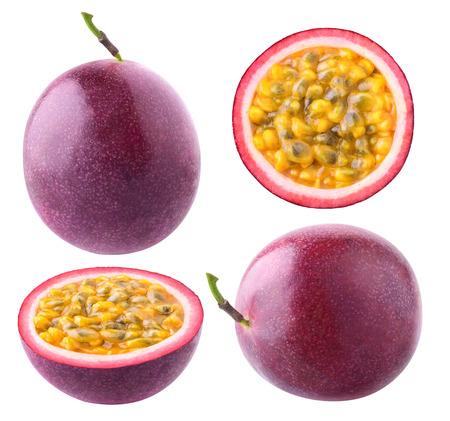 격리 된 열정 과일입니다. 흰색 배경에 고립 된 전체 및 컷 열정 과일 (maracuya)의 컬렉션