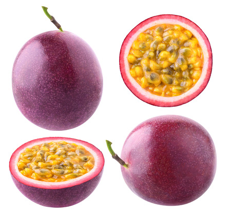 Isolated passion fruit. Collection of whole and cut passion fruits (maracuya) isolated on white background Archivio Fotografico