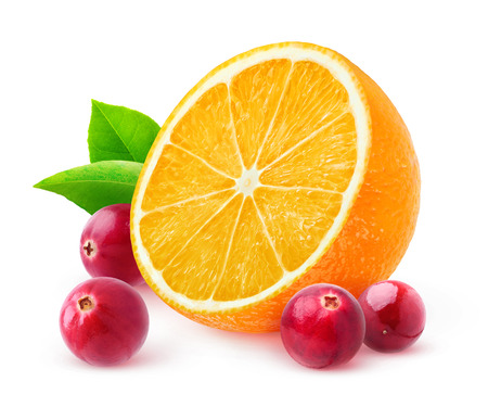 Isolated orange and cranberries. Half of orange fruit and cranberries isolated on white background with clipping path