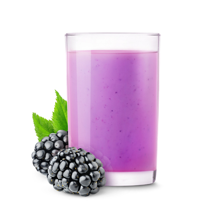 isolated on white: Isolated fruit smoothie. Glass of blackberry drink isolated on white background with clipping path
