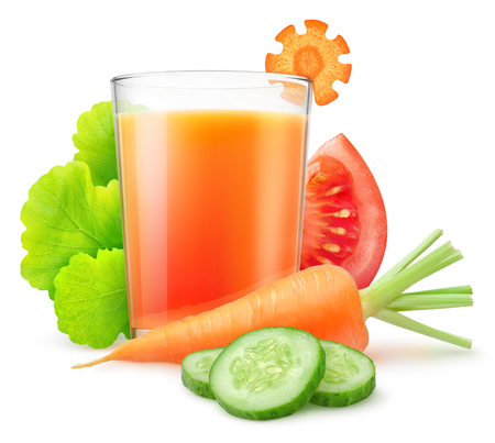 Isolated vegetable juice. Fresh carrot, sliced cucumber and tomato, leaves of lettuce and glass of mixed vegetable drink isolated on white with clipping path