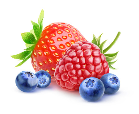 Isolated berries. Fresh strawberry, raspberry and blueberry isolated on white background with clipping path