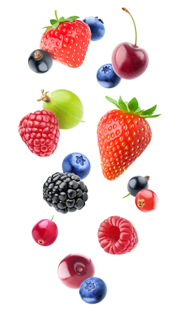Isolated falling berries. Mixed fruits in the air (blueberry, blackberry, raspberry, strawberry, gooseberry, cherry, black and red currants) isolated on white background