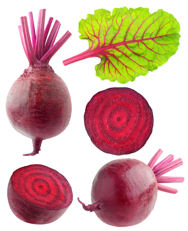 Isolated beetroot collection. Various cut and whole beetroot vegetables with leaf isolated on white background with clipping path