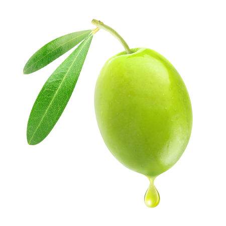 Isolated olive. One green olive with leaves and drop of oil isolated on white background with clipping path