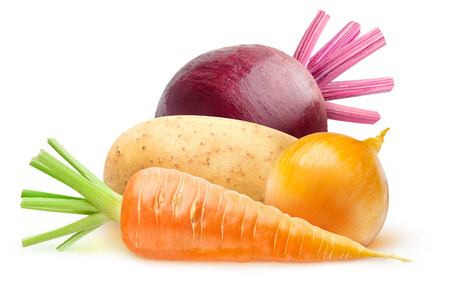 Isolated root vegetables. Raw carrot, potato, beetroot and onion isolated on white background with clipping path