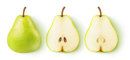 Isolated pears. Whole yellow green pear fruit and two halves in a row isolated on white background