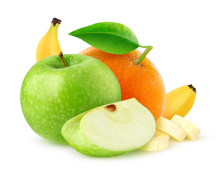 Isolated fruits. Green apple, orange and banana isolated on white background with clipping path