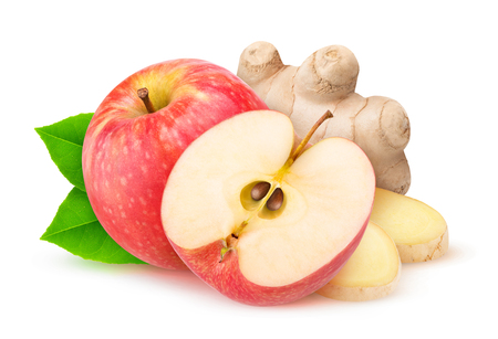 Cut red apple and ginger isolated on white background