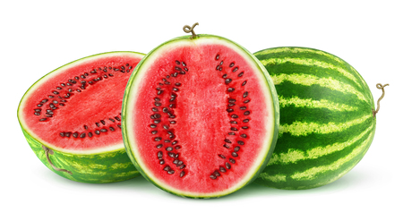 Isolated watermelons. One whole watermelon fruit and one cut in half isolated on white background with clipping path