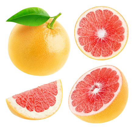 Isolated grapefruits. Collection of whole and cut fresh grapefruits isolated on white background
