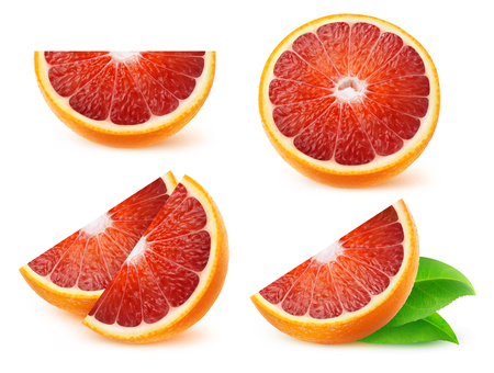 Isolated fruits collection. Pieces of blood oranges isolated on white background
