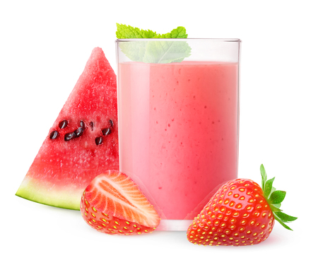 Isolated drink. Glass of watermelon and strawberry smoothie with mint isolated on white background with clipping path 写真素材