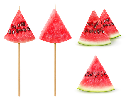 Isolated watermelon pieces. Collection of watermelon snacks isolated on white background with clipping path