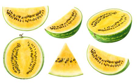 Isolated watermelon collection. Pieces of yellow watermelon fruit isolated on white background
