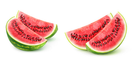 Two   watermelon pieces isolated on white background