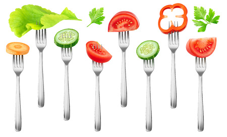 Isolated fresh salad vegetables. Pieces of tomato, cucumber, red bell pepper, carrot and lettuce on a fork isolated on white background