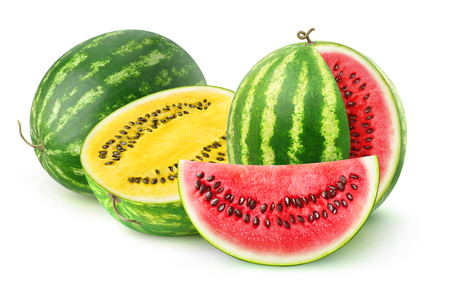 Isolated watermelons. Two watermelon varieties, red and yellow, isolated on white background 写真素材
