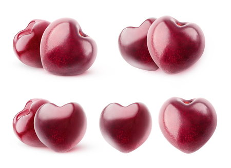 Isolated cherries. Collection of heart shaped sweet cherry fruits without stems isolated on white background