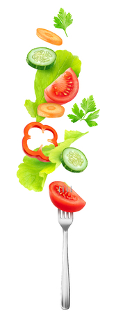 Isolated salad vegetables. Pieces of fresh tomato, cucumber, carrot, bell pepper and lettuce leaves in the air over a fork isolated on white background