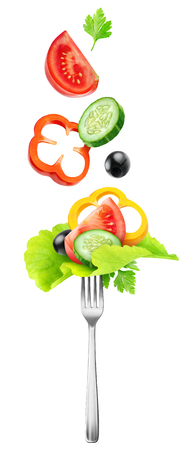 Isolated vegetables. Fresh salad components (tomato, cucumber, yellow bell pepper, lettuce and black olives) over a fork isolated on white background