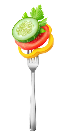 Isolated fresh vegetables. Pieces of tomato, cucumber and yellow bell pepper (salad ingredients) on a on a steel fork isolated on white background 版權商用圖片