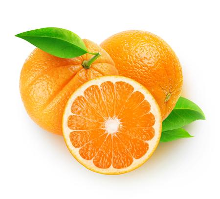 Isolated oranges. Three orange fruits isolated on white background 写真素材