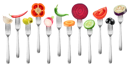 Isolated vegetables collection. Pieces of garlic, peppers, olives, radish, carrot, beet, cucumber, tomato and eggplant on a fork isolated on white background
