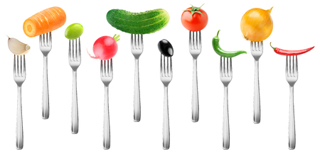 Isolated vegetables collection. Tomato, cucumber, garlic, carrot, olives, radish, peppers and onion on forks isolated on white background 版權商用圖片