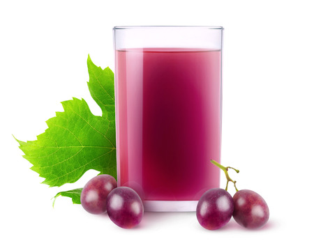 Isolated grape drink. Glass of juice and red grapes isolated on white background