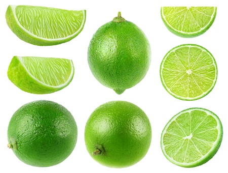 Isolated limes. Collection of whole and lime fruits isolated on white background