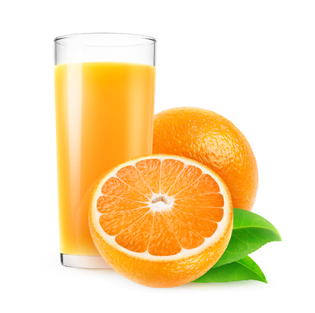 Isolated juice. Glass of fresh orange juice and cut oranges isolated on white background