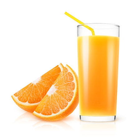 Isolated orange juice. Fresh orange juice in a glass and pieces of fruit isolated on white background 写真素材