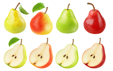 Isolated pears collection. Fresh pears of different colors, whole fruits and halves isolated on white background