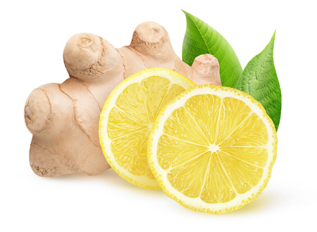 Isolated ginger and lemon pieces. Natural medicine, antiflu ingredients isolated on white background 写真素材
