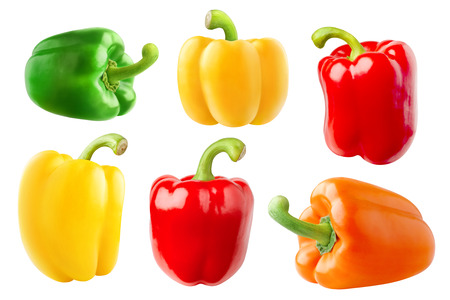 Isolated peppers. Collection of bell peppers different in shape and color (red, green, yellow, orange) isolated on white background