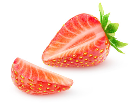 Isolated strawberry. One strawberry fruit with cut out slice isolated on white background 版權商用圖片