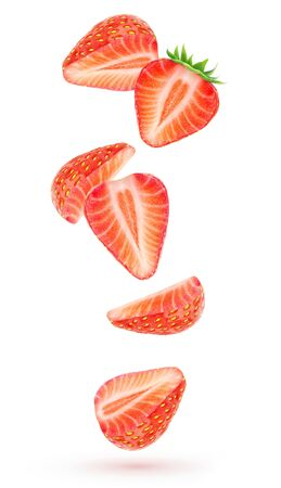 Isolated strawberries in the air. Falling pieces of strawberry fruits isolated over white background 写真素材