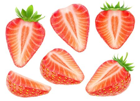 Isolated strawberry pieces. Collection of cut strawberry fruits isolated on white background 写真素材