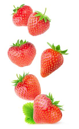 Isolated strawberries. Flying whole strawberry fruits isolated on white background 写真素材