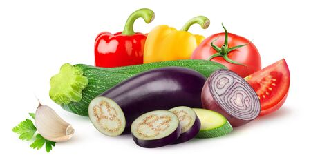 Isolated ratatouille ingredients. Raw cut vegetables (zucchini, eggplant, tomato, onion, pepper, garlic) isolated on white background