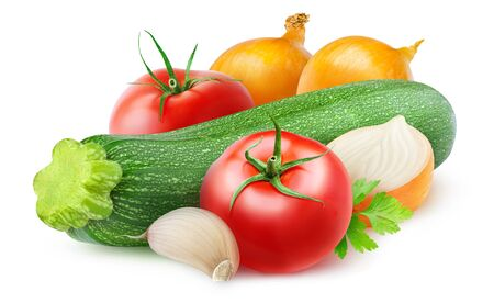 Isolated vegetables. Raw ingredients for zucchini, onion and tomato sauté isolated on white background 写真素材 - 126037730