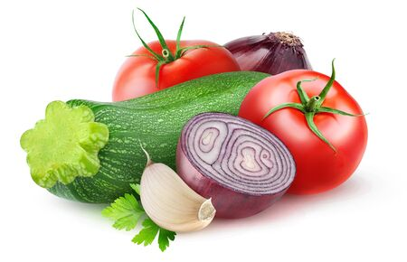Isolated vegetables. Raw zucchini, red onions and tomatoes (sauté ingredients) isolated on white background