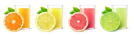 Isolated citrus fruit juices. Glasses of orange, lemon, lime and grapefruit drinks and one slice of fruit isolated on white background 写真素材 - 126880142