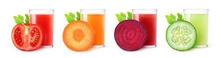Isolated vegetable juices. Glasses of tomato, carrot, beet and cucumber drinks and one slice of fresh fruit isolated on white background 写真素材