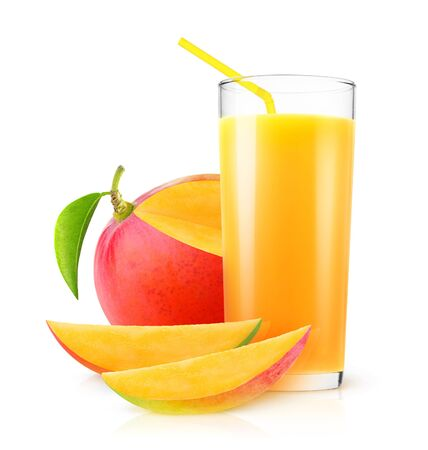 Isolated mango juice. Fresh mango drink in a glass and pieces of fruit isolated on white background
