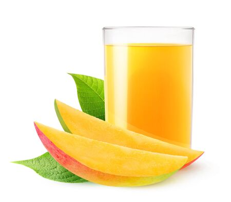 Isolated drink. Glass of mango juice and two slices of fresh fruit isolated on white background 写真素材