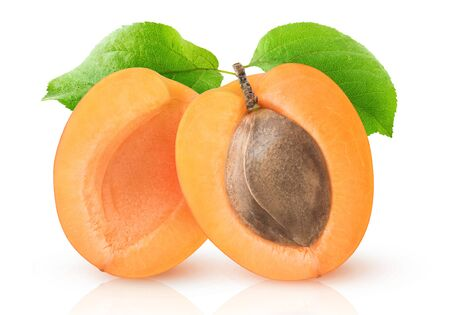 Isolated apricot. One apricot fruit cut in halves with kernel and leaf isolated on white background 写真素材
